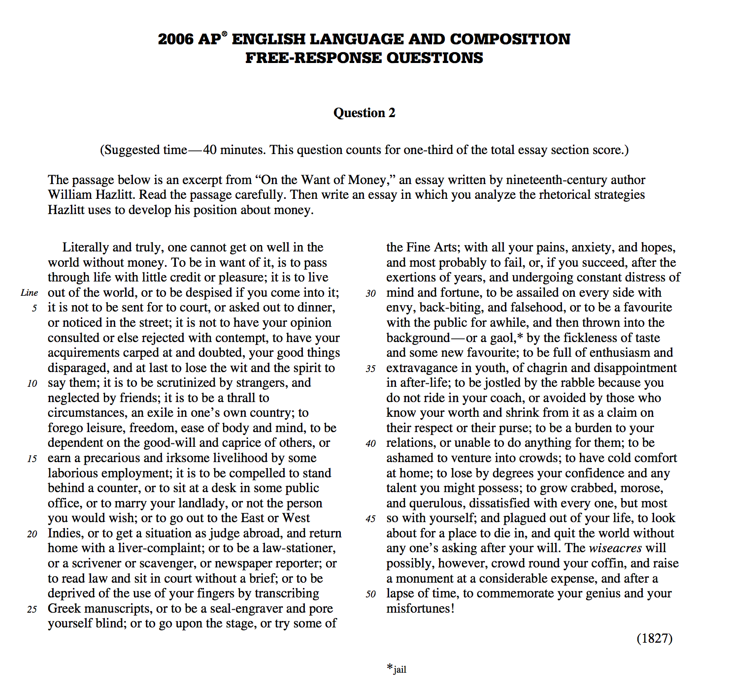 ap english composition essay prompts Explore timing and format for the ap english language and composition exam, and review sample questions, scoring guidelines, and sample student responses.